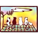 和道楽 切り絵ポストカード 「屋根の上の猫」