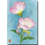 花のポストカード 昼咲月見草 可愛いイラスト 絵葉書