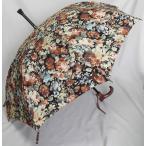ステッキとしてご使用になれるステッキ傘(つえかさ)油絵調花柄 手開き 晴雨兼用 黒地黄柄 【送料無料】