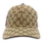 GUCCI (グッチ) GGキャンバス シェリーライン ベースボールキャップ 帽子 ベージュ