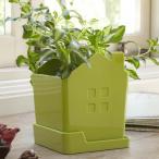 プランターカバー ハウス グリーン 緑 家 植木鉢 鉢カバー 植物 園芸 ガーデニング インテリア