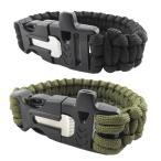 サバイバル ブレスレット ファイヤー スターター付 笛 パラシュートコード 腕輪 ナイロン ブレス ロープ PARACODE