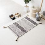 玄関マット トライバル柄 インド綿 コットン素材 手洗い可能 手織り おしゃれ