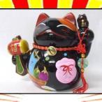【送料無料2千円以上ご購入】開運!風水!金運!招き猫の貯金箱 宝船の絵/置物/黒 縁起物 福と財を呼ぶインテリア♪