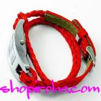 三つ編み レザーベルト 2連ブレスレット の カラフル腕時計 ブレスウォッチ 赤 レッド