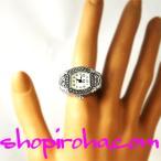 指輪時計 リングウォッチ 指輪型時計 角丸 銀piko ゴシック アンティーク シルバーカラー