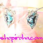 Butterflyアゲハ蝶ピアス ブルーバタフライ ピアス チョウチョピアス プシュケ 美しい青い蝶 バタフライピアス左右 ペア