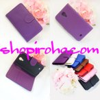 ギャラクシーS4 カバー ダイアリー レザー ケース手帳型・紫バイオレット・ブック