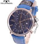 TECHNOS(テクノス) クロノグラフ腕時計 デイト(日付表示)レザーウォッチ T6397NN ネイビーブルー