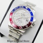 メンズ腕時計 ノーロゴ GMTマスターIIモデル 赤青ベゼル ルミナス蛍光 セラミックベゼル オマー...