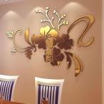 Yahoo!14時store3Dミラー花のアートリムーバブル壁ステッカーアクリル壁画デコレーションホームルームインテリアアクリルミラー装飾的なステッカー 得トク2WEEKS0410