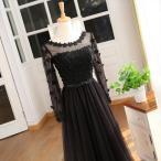パーティードレス 結婚式 ロングドレス レディース レースドレス 長袖 スレンダーライン 可愛い花びら 披露宴 二次会 ステージ衣装 ブラックda001y5y5y5