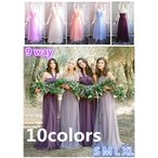 花嫁 ウェディングドレス 10color 花嫁の介添えドレス 編み上げ ロングドレス プリンセスドレス 結婚式 ブライズメイド服 パーティー 演奏会 発表会