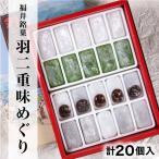 福井銘菓 羽二重味めぐり 20個入り(白(餡入)10個+白+よもぎ各5個)