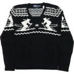 ラルフローレン スキー柄 コットンセーター アンゴラ カシミア混 黒 ブラック Polo Ralph Lauren 944