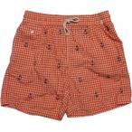 ラルフローレンPoloRalphLaurenメンズ海水パンツ水着ギンガムチェック刺繍オレンジ/M/L/XL/176