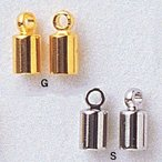 ビーズ 留め具パーツ マンテル・クラスプ・ニューホックなど エンドキャップ G・S 内径3mm 2個