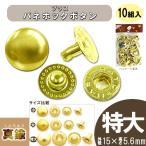レザー 副資材 ブラス 真鍮 金具 ブラスバネホックボタン 10組入 8050 特大/15×5.6mm B