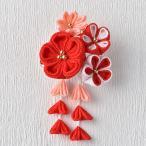 京ちりめん つまみ細工 彩花ブローチ 赤 | つまみ細工 七五三 成人式 ハンドメイド 和手芸 和柄