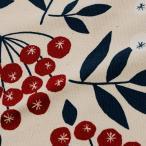 北欧の森 赤い実の南天 10番オックス (1m単位) 切売り 布 布地 生地 綿 コットン 綿100% 花柄 フラワー柄 フラワープリント