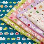 愛らしい和 小鳥と和菓子 スケア (1m単位)|切売り 生地 布 布地 コットン 綿 綿100 和柄 鳥 和菓子 ピンク 雑貨 巾着 和小物