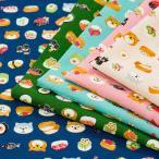 愛らしい和 柴犬とお寿司 スケア (1m単位)|切売り 生地 布 布地 コットン 綿 綿100 和柄 犬 柴犬 いなり 寿司 ピンク 雑貨 巾着