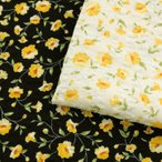 KUKKA&KUKKA イエローフラワー リップル (1m単位)|切売り 生地 布 布地 服地 薄手 衣料向き 綿 コットン 綿100 花 フラワー