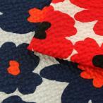 コットンこばやし 北欧調フラワー ポプリンリップル (1m単位)|切売り 生地 布 布地 綿 コットン 綿100 花柄 フラワー柄 フラワープリント 北欧