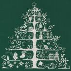 刺繍 輸入キット DMC Christmas Tree 生地グリーンの白刺し JPBK557G