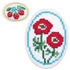 刺繍 キット オリムパス ちいさなクロス・ステッチ くるみボタン風ブローチ イチゴとアネモネ