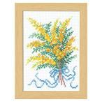 刺繍 12ヶ月の花フレーム マリー・カトリーヌコレクション 2月 ミモザ | クロスステッチ 刺繍 キット オリムパス フレーム付