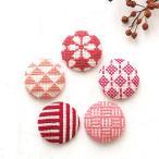 クロスステッチ 刺しゅうキット COSMO 包みボタン5個セット 赤|刺繍 キット ルシアン くるみボタン 和模様 釦