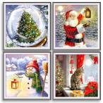 ダイヤモンドアート クリスマス ツリー サンタクロース 雪だるま 猫 初心者 ダイアモンドペインティング 刺繍キット ビーズ刺繍 趣味 クロスステッチ 送料無料