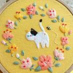 刺繍キット 猫さんシリーズ (1)おさんぽ かんたん フランス刺繍 プラスチック製の枠付き