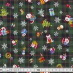 クリスマス生地(布)チェックにクリスマス柄(グリーン)30cmより