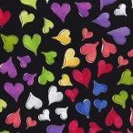 Loralie Designs ローラライ ハリス (ロラライ ハリス)デザイン Happy Hearts ハート 総柄(ブラック)【30cm以上10cm単位】