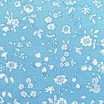 白花 水色地 Marcus fabrics USAプリント生地Aunt Grace's Apron 巾110cm×10cm=170円(30cm以上から)