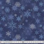 クリスマス生地(布)ブルークリスマス   Crystal of snow(雪の結晶柄 )D【30cmより10cm単位でカットします。】