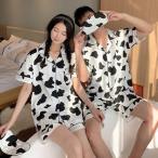カップルパジャマ ペアパジャマ 春夏 半袖ルームウェア 前開き 綿100% ペアルック 可愛い 乳牛 ショットパンツ上下セット レディース/メンズ部屋着 オシャレ