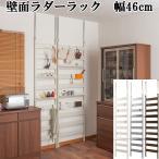 突っ張りラック 壁面 収納 幅46cm ラダー ラック 棚付き 薄型 つっぱり 日本製