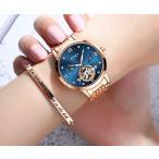 腕時計 レディース 自動巻き レディースウォッチ スケルトン 天然ダイヤ 30m防水 時計 腕時計 ステンレスケース