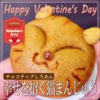 バレンタイン 猫まんじゅう チョコチップ白あん 1個 クリアケース入  10個以上で送料無料