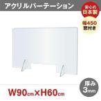 [日本製]アクリルパーテーション 飛沫防止 透明 W900*H600mm 窓付き 対面式スクリーン デスク用仕切り板 コロナ対策 間仕切り板  jap-r9060-m45