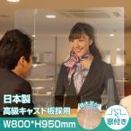 [日本製]高透明度アクリル板採用 衝突防止窓付きW800*H950mm 飛沫防止 透明 アクリルパーテーション コロナウイルス対策 kap-r8095-m25
