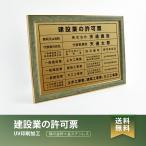 【送料無料】建築業の許可票 緑 / 茶の金枠x金ステンレス W572×H421mm 選べる書体 枠 UV印刷 ステンレス 宅建 標識 看板 取引業者 短納期(rb-newGR)