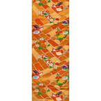 正絹袋帯 オレンジ系の地色に小花・鴛鴦(おしどり)文様 【シルク 和柄 和風 友禅 衣装 生地 着物 はぎれ】