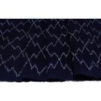 綿 正藍染 青系の地色に松皮菱の絣(かすり) 【シルク 和柄 和風 友禅 衣装 生地 着物 はぎれ】