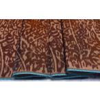 正絹米琉紬 茶系の地色に幾何学模様の絣(かすり) 【シルク 和柄 和風 友禅 衣装 生地 着物 はぎれ】
