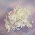 ショッピングリングピロー リングピロー ロマンチックチェアホワイトローズリングピロー 完成品 シルクフラワー ウェディング 造花