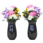 仏花 造花 可愛らしいエゾ菊とミニリリーの小花束一対 (花器付きセット) 仏壇用 CT触媒